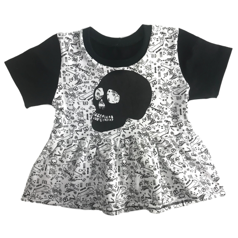 Skull Tee or Peplum - Punk Fabric Raglan