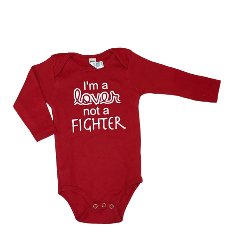 I'm a Lover, Not a Fighter Red Long Sleeve Bodysuit