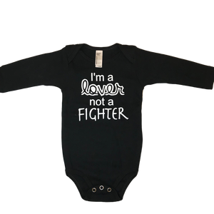 I'm a Lover, Not a Fighter Black Long Sleeve Bodysuit
