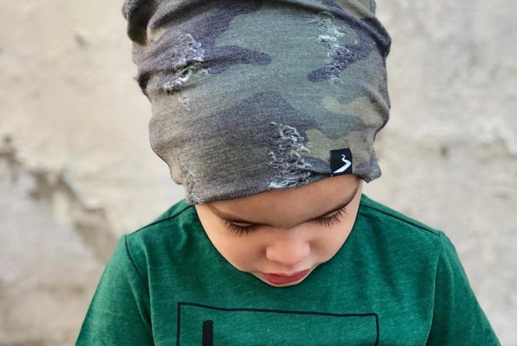 Distressed Camo Beanie