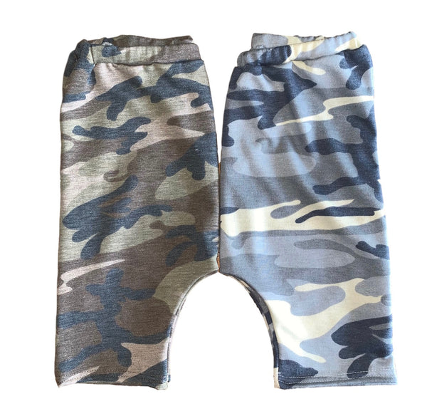 Blue Gray Camo Harem Shorts
