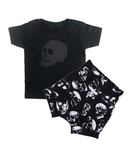 Bundle - Black on Black Skull Tee & Skull Shorties