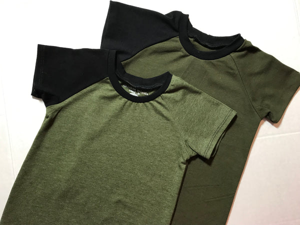 Basic Solid Raglan - Heathered Olive