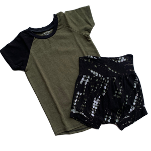 Bundle - Olive Raglan and Snake Shorties