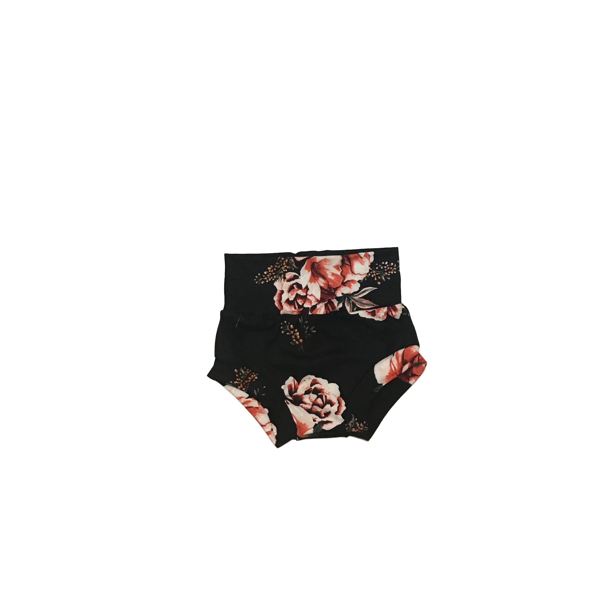 Black and Coral Floral Bummies