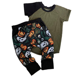 Bundle - Pocket Halloween Harems & Heathered Olive Raglan