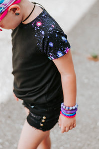 Purple Galaxy & Black Raglan