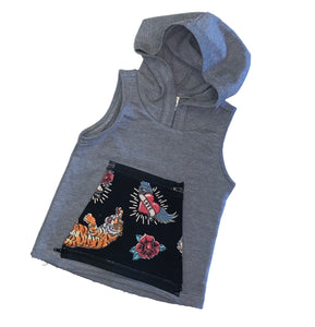 Interchangeable Pocket Sleeveless Hoodie - Gray