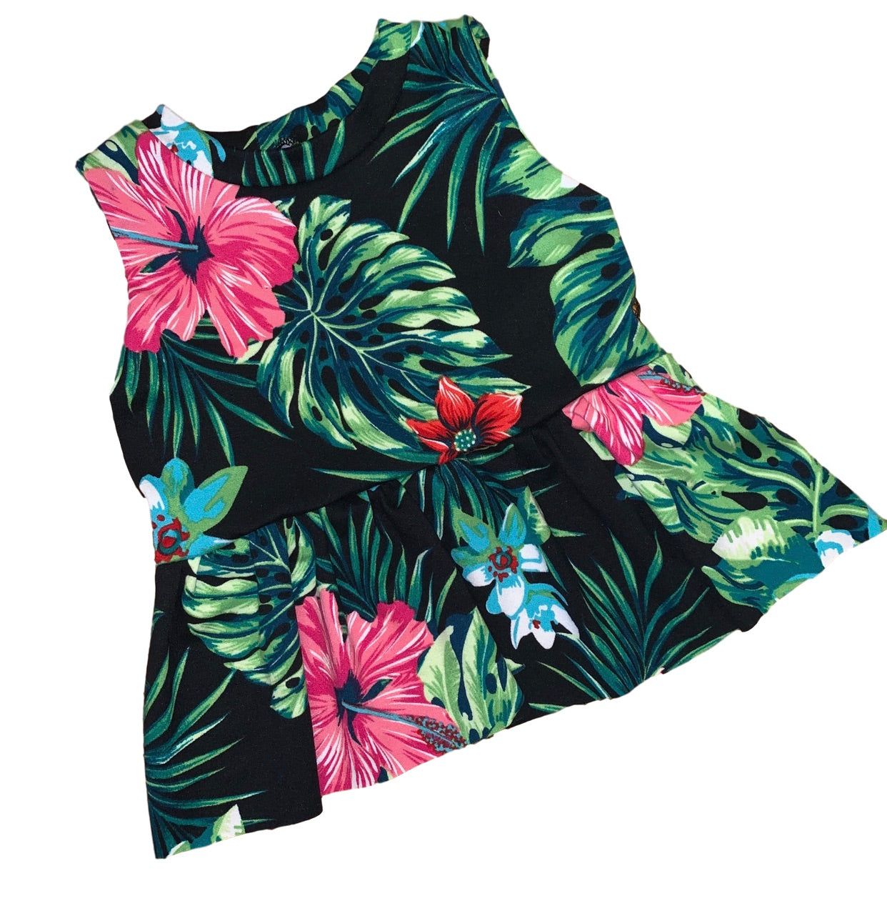 Summer Floral Sleeveless Peplum