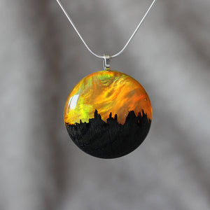 Yellow Flame | opal pendant [round]