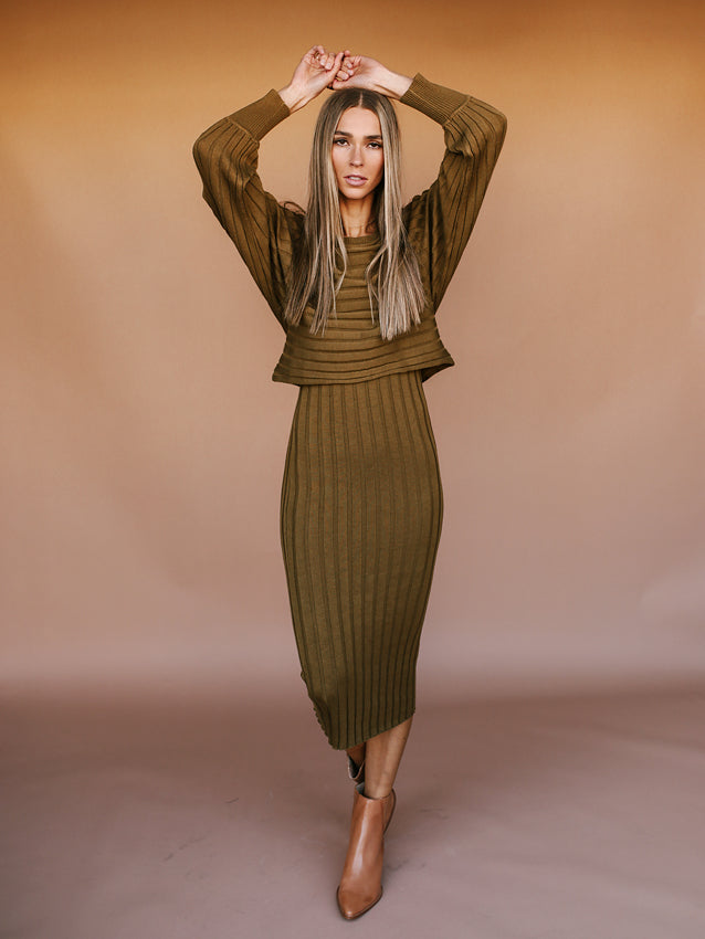 We Go Together Dress (Olive)