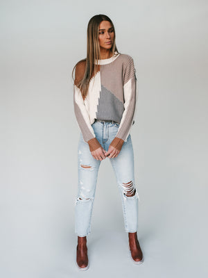 Campbell Color-Block Sweater (Mocha)