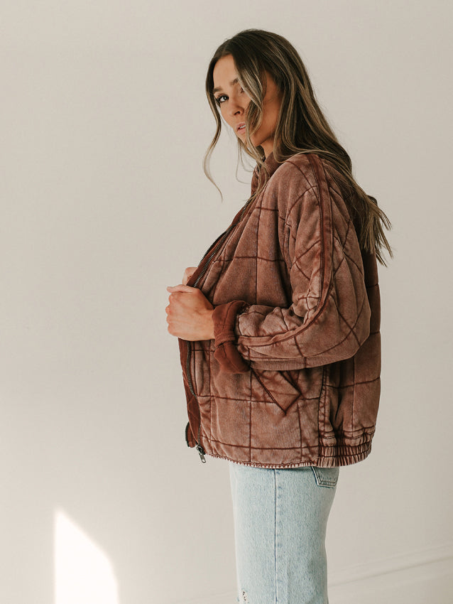 FREE PEOPLE Dolman Quilted Knit Jacket // Cherry Cola
