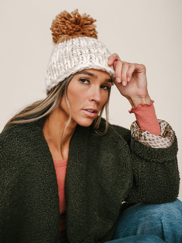 FREE PEOPLE Cozy Up Color-Block Pom Beanie