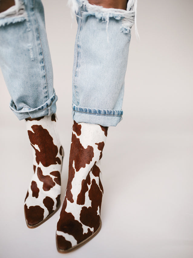 Caty Brown Cow Spot Cowhair Booties