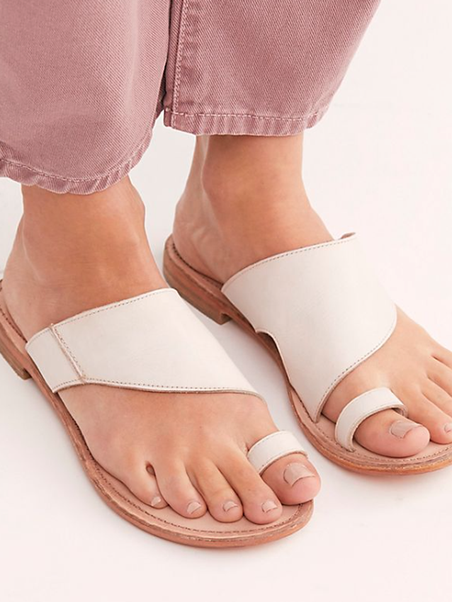 FREE PEOPLE | Sant Antoni Leather Slides (White)-SALE