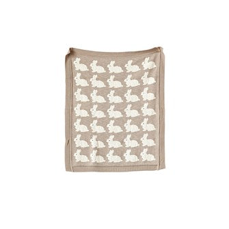 Knit Blanket w/ Rabbits, Taupe