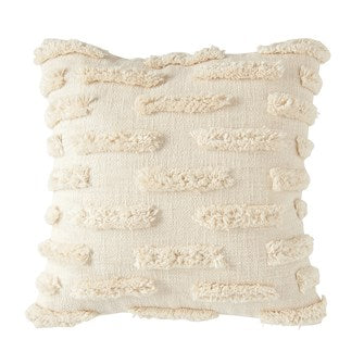 Woven Cotton Pillow w/ Fringe, Natural