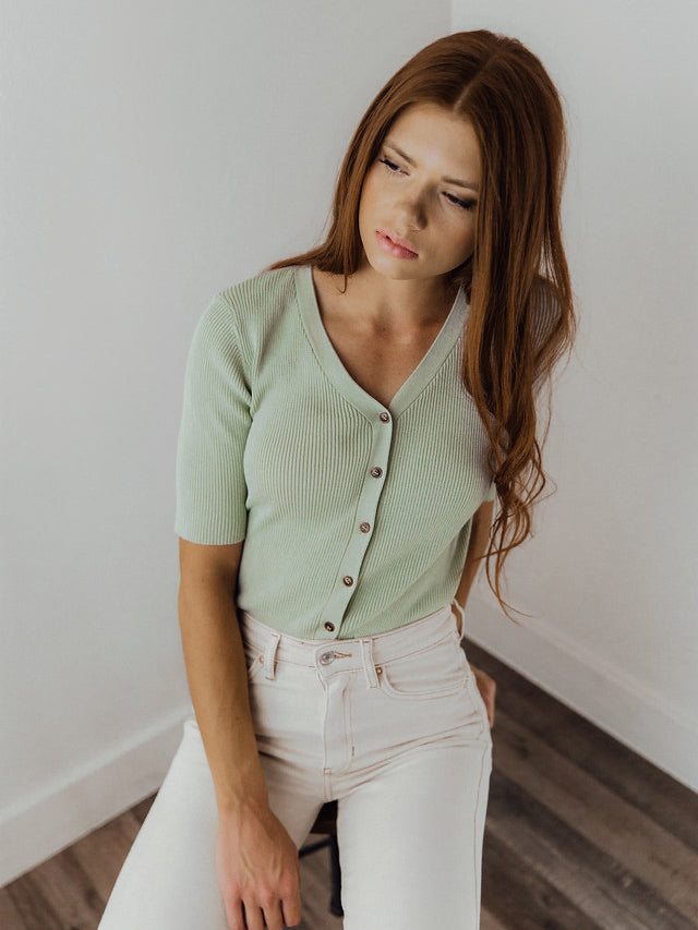 Sadie Button-Up Top // Sage