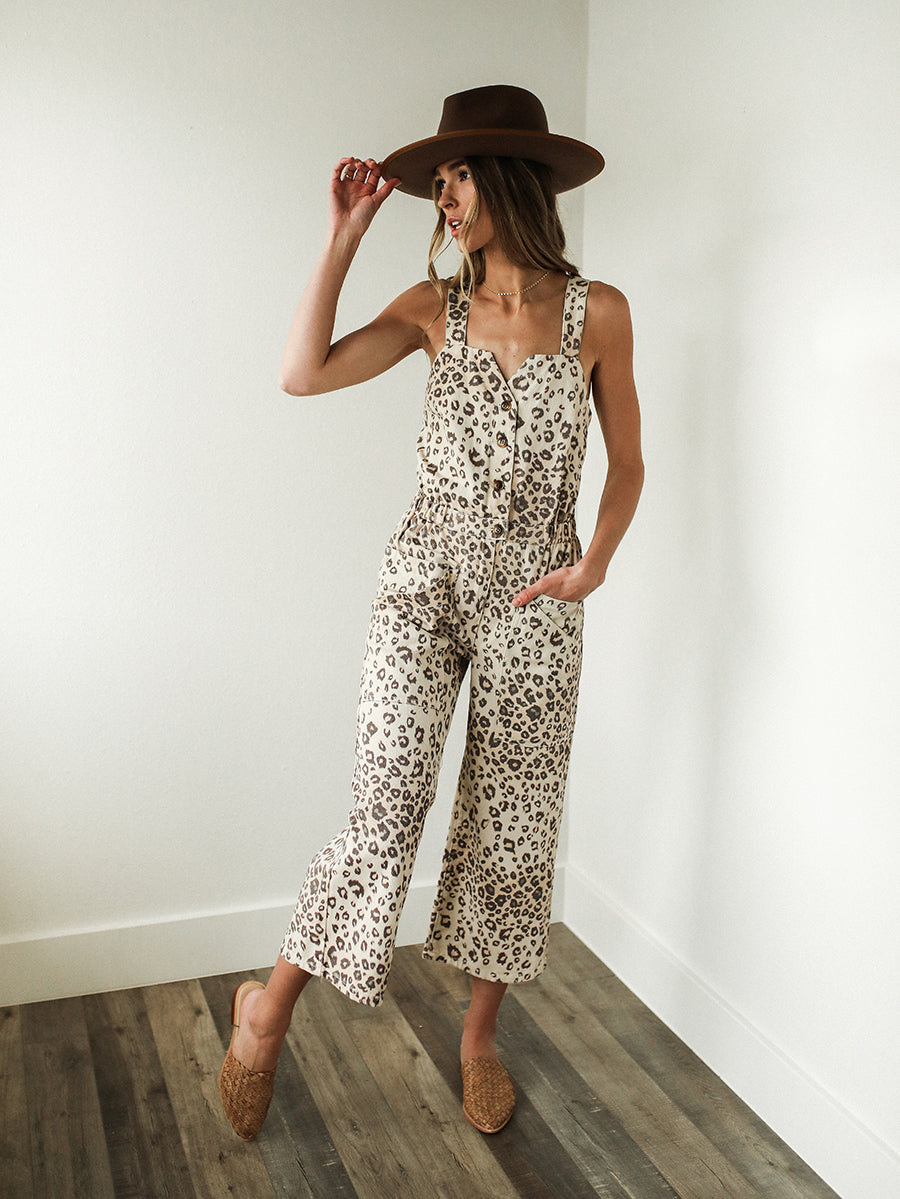 Long Gone Leopard Overalls-sale