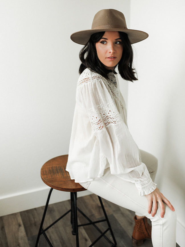 FREE PEOPLE Abigail Victorian Top (White)