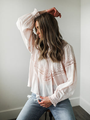 FREE PEOPLE Abigail Victorian Top (Pink)