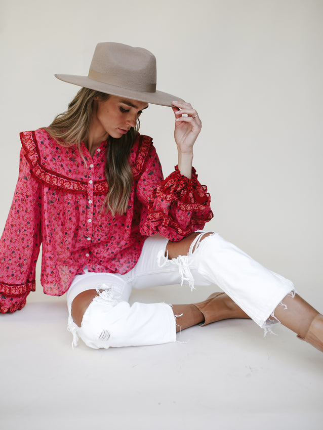 FREE PEOPLE Jenna Printed Blouse