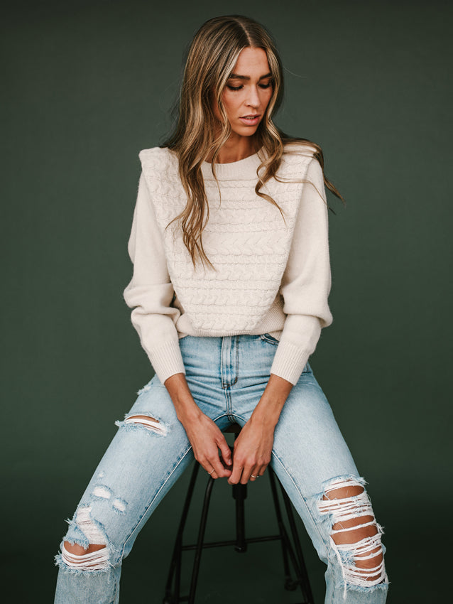 Notched Shoulder Sweater