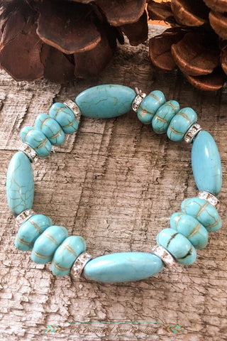 Flat Bead Turquoise Bracelet - The Diamond Spur Boutique