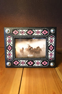 Pink and Black Aztec Picture Frame - The Diamond Spur Boutique