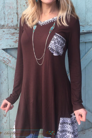 Long Aztec Print Tunic - The Diamond Spur Boutique