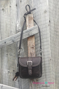 Brown Leather Crossbody Bag - The Diamond Spur Boutique
