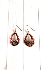 Red Floral Earrings - The Diamond Spur Boutique