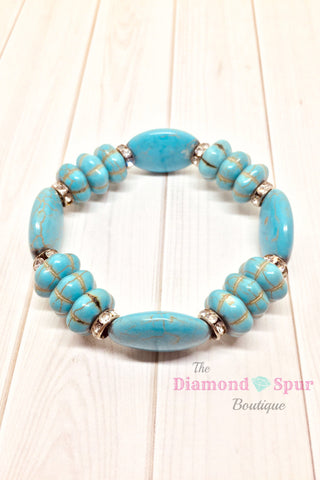 Large Bead Turquoise Bracelet - The Diamond Spur Boutique