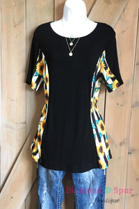 Crazy Train Sunflower Sides Tee - The Diamond Spur Boutique