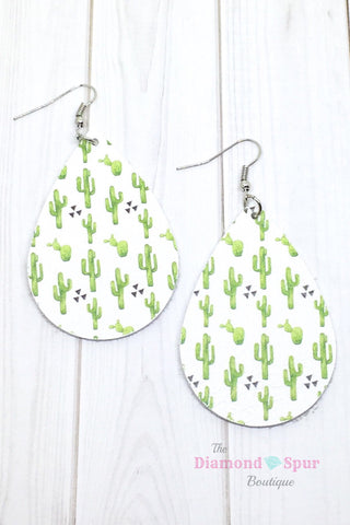 Tear Drop Cactus Earrings - The Diamond Spur Boutique