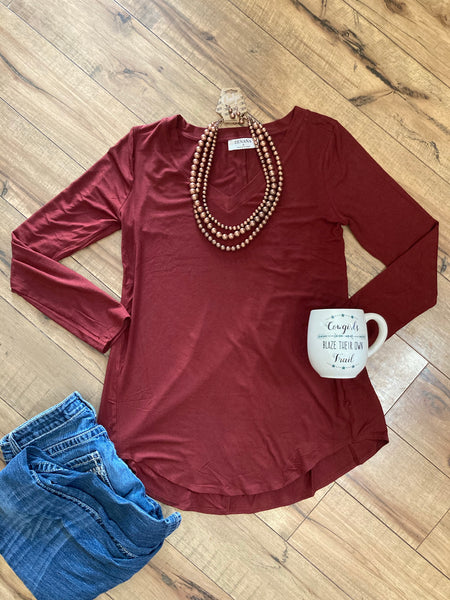 Brick Red Solid V Neck Top - The Diamond Spur Boutique