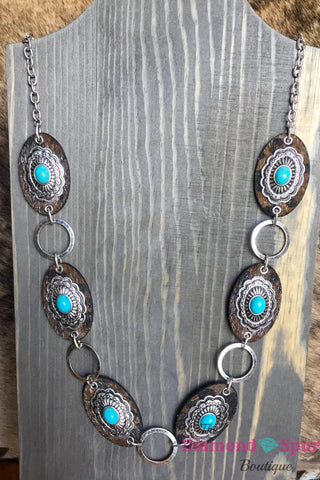 Leopard and Concho Necklace - The Diamond Spur Boutique