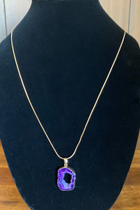 Purple Stone Pendant Long Necklace - The Diamond Spur Boutique