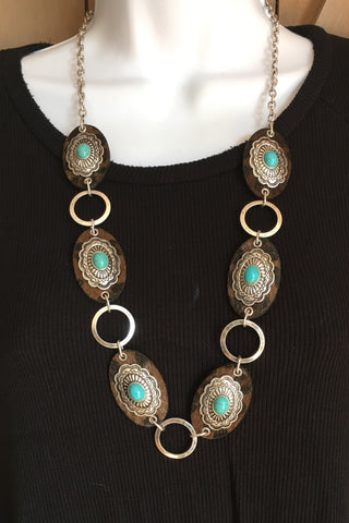 Leopard and Concho Necklace