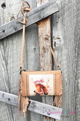 Leather Horse Fringe Crossbody Clutch - The Diamond Spur Boutique