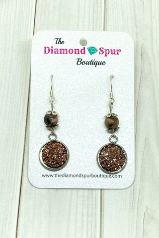 Rose Gold Druzy Earrings - The Diamond Spur Boutique