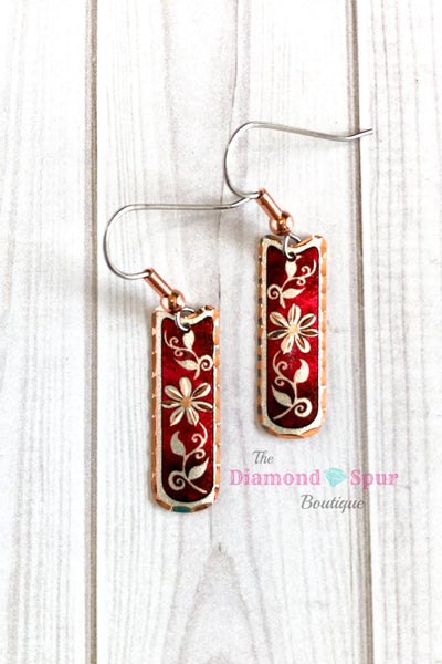 Copper Rectangle Floral Earrings - The Diamond Spur Boutique