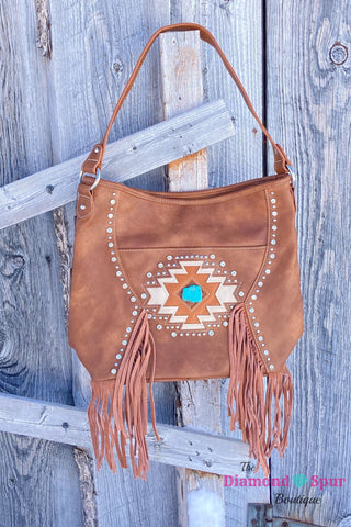 Fringe and Turquoise Detail Concealed Carry Handbag