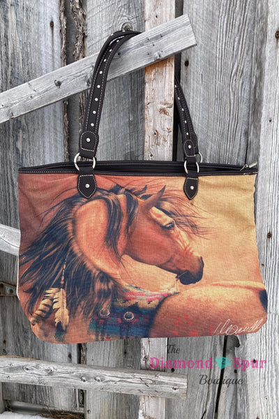 Horse Art Canvas Tote - The Diamond Spur Boutique