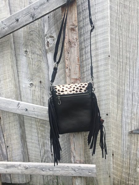 Genuine Leather Leopard Print Crossbody Bag - The Diamond Spur Boutique