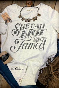 "Cheekys ""She Cannot Be Tamed"" Gin White Tee - The Diamond Spur Boutique"
