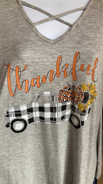 Distressed Print Thankful Top - The Diamond Spur Boutique