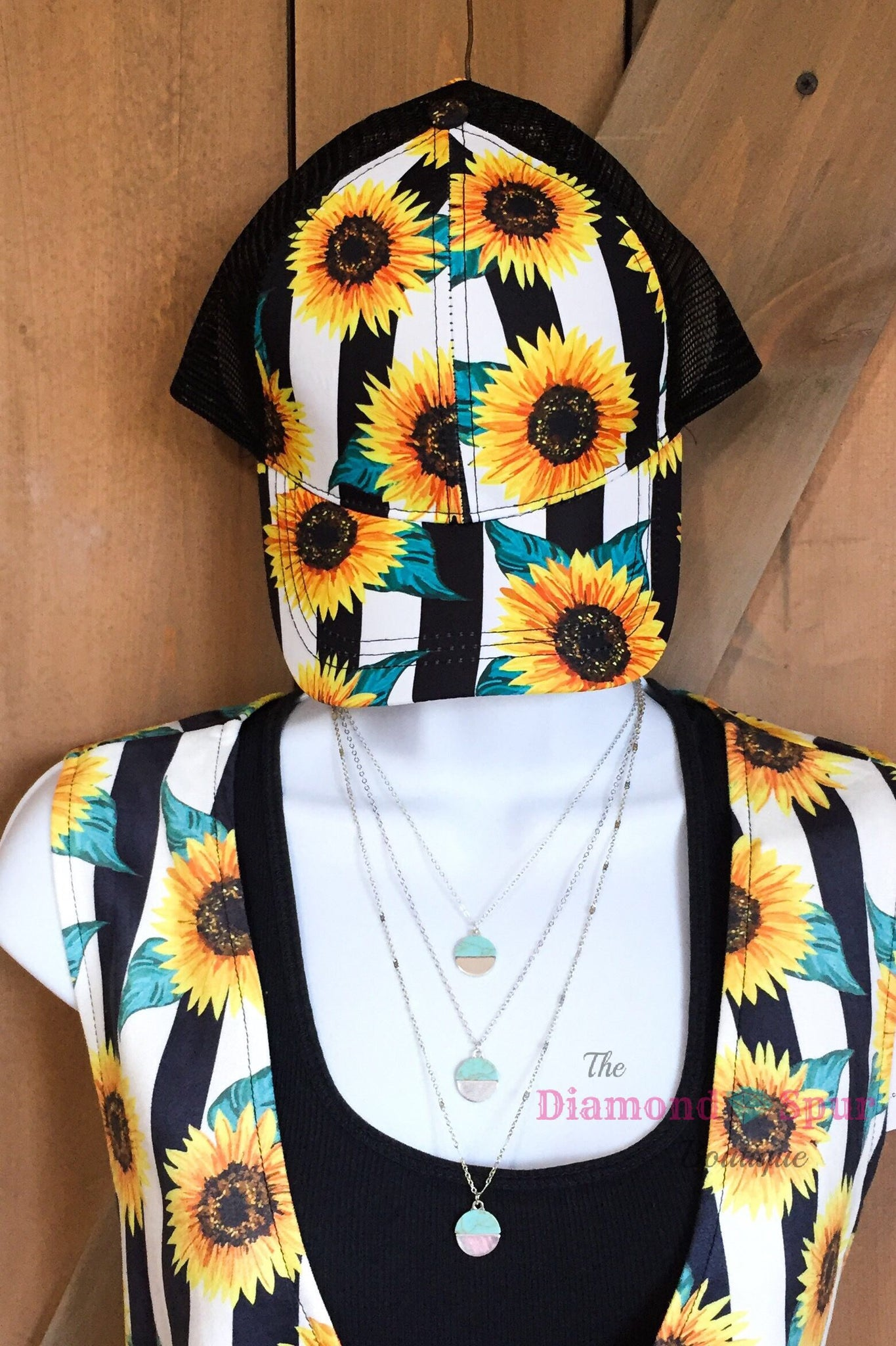 Crazy Train Sunflower Ball Cap - The Diamond Spur Boutique