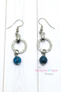 Silver Circle and Turquoise Earrings - The Diamond Spur Boutique